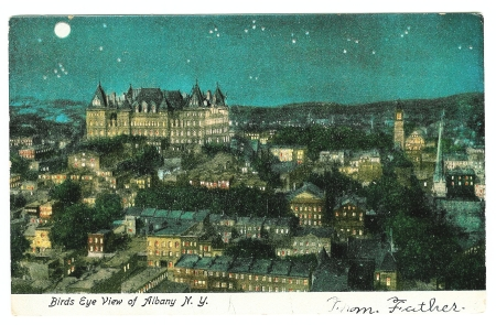 Birds Eye View of Albany N. Y.__NIGHT__obverse