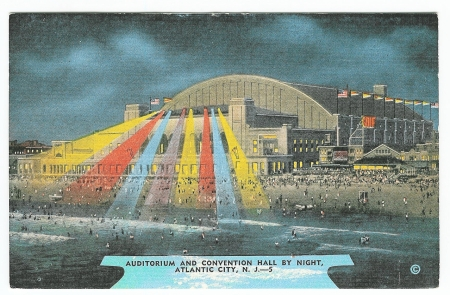 AUDITORIUM AND CONVENTION HALL BY NIGHT, ATLANTIC CITY, N. J. -- Obverse
